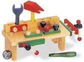 Houten speelgoed werkbank met bankschroef