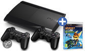 Sony PlayStation 3 Console 500GB Super Slim + 2 Wireless Dualshock 3 Controllers + Ratchet & Clank: Qforce + 30 dagen PSN Plus Voucher - Zwart PS3 Bundel