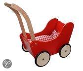 New Classic Toys Poppenwagen Rood met dekje