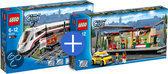 LEGO City Trein Voordeelbundel: Hogesnelheidstrein 60051 + Treinstation 60050