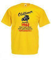 Mijncadeautje heren leeftijd T-shirt geel maat S - Oldtimer Bouwjaar (geboortejaar) 1962