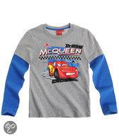 Disney Cars Jongensshirt - Lichtgrijs / Blauw - Maat 116