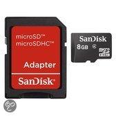 Sandisk MicroSD kaart 8 GB + SD adapter