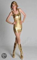 Stretch mini  dames jurkje goud 38 (m)