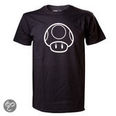 Nintendo - Glow In The Dark Mushroom T-Shirt - L (Black)