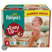 Pampers Easy Ups - Maat 4 Jumbo box 56 st.