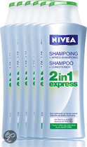 NIVEA 2 in 1  Express - 6 x 400 ml Voordeelverpakking - Shampoo & Conditioner