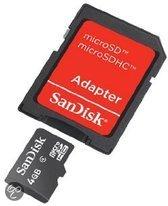 Sandisk MicroSD kaart 4 GB + fotoadapter