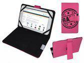 Hoes voor Prestigio Multireader 5274, Cover met Fragile Print, Hot Pink, merk i12Cover