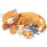 Pluche poes met kittens 25 cm