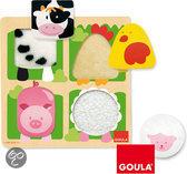 Goula Houten Puzzel - Boerderijdieren - 4 Stukjes