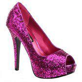 Roze glitter peep toe pumps 39