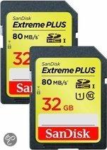Sandisk Extreme PLUS SD kaart 32 GB (Dubbelpak)