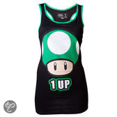 Nintendo Dames Tank Top Zwart 1 UP Maat S