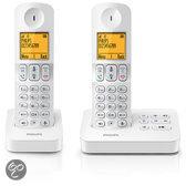 Philips D405 - Duo DECT telefoon met antwoordapparaat - Wit