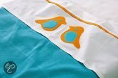 Jollein Organic Birdy - Lakentje 120x150 cm - Turquoise / Oranje