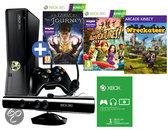 Foto van Microsoft Xbox 360 Slim 250GB + Kinect Sensor + 1 Controller + 3 Kinect Games + 1 Maand Xbox Live Gold