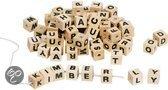 Houten letter blokjes naturel hout