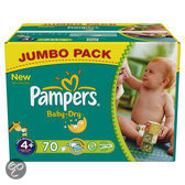 Pampers Baby Dry - Luiers Maat 4+ - Jumbo box plus 70st