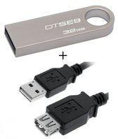 Benza - Kingston MEM DataTraveler USB Metalen Stick/Geheugenstick Flash Drive SE9 32GB 2.0 (sleutelhanger) (Inc. USB verlengkabel)