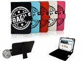 Hudl 7 Inch Tesco Tablet Fragile Print Case, Trendy Hoesje, Kleur Zwart, merk i12Cover