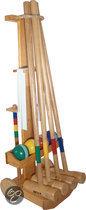 Croquetset PRO op kar voor 4 spelers - Rubberhout - 100 cm