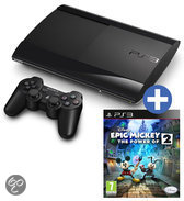 Sony PlayStation 3 Console 12GB Super Slim + 1 Wireless Dualshock 3 Controller + Epic Mickey 2 - Zwart PS3 Bundel
