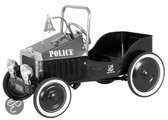 Metalen Trapauto Politie - Zwart