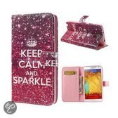 Samsung Galaxy Note 3 Wallet Stand Case Sparkle Rose