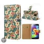 Samsung Galaxy S5 Wallet Stand Case Flower Design Green
