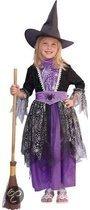 Halloween Heksen kostuum zwart/paars kinderen 104