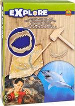 Ses opgravingsset haaienkaak opgraven