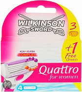 Wilkinson Sword Quattro For Women Blades - 3 + 1 st - Scheermesjes