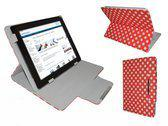 Polkadot Hoes  voor de Nook 1st Edition Ebook Reader, Diamond Class Cover met Multi-stand, Rood, merk i12Cover