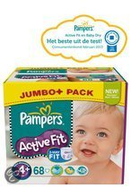 Pampers Active Fit - Luiers Maat 4+ - Jumbo Pack Maxi Plus 68st