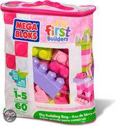 Mega Bloks First Builders 60 Maxi blokken met tas - Roze