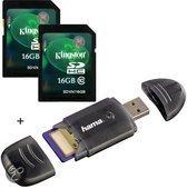 Benza® - Kingston Security Digital (SD) Card/Kaart SDHC 2x16GB Class 10 Twin Pack - Inc. Hama USB SD/SDHC Kaartlezer Geheugenkaarten