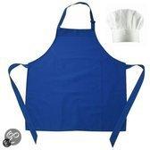 Benza Schort - Neutrale, Blanco, Luxe, Mooie Kinderen Keukenschort - Blauw (incl. witte koksmuts)