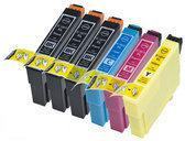 Compatible Epson T1816 / Epson 18XL / Epson 18 met chip, 6 pak. 3 Zwart, 1 Cyaan, 1 Magenta, 1 Geel.