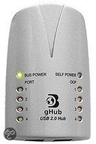 Dr. Bott gHub 2.0 Silver, 4-Port USB2 Hub, 230V 5V netvoedingadapter