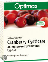Optimax Cranberry Cysticare 40 kauwtabletten