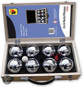 8 ballen in houten koffer