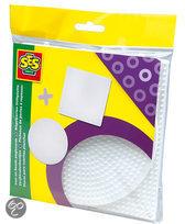 Ses Strijkkralen bordjes 5-pack - rond en vierkant