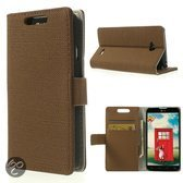 JavuCase - LG Optimus L70 - Wallet Case Hoesje Denim Licht Bruin