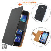 TCC Luxe Hoesje Samsung Galaxy Note 2Book Case Flip Cover N7100 - Zwart