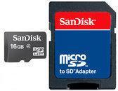 MicroSDHC kaart 16GB class 4 van SanDisk (geheugenkaart met adapter)