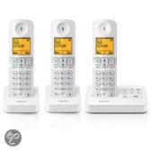 Philips D405 - Trio DECT telefoon met antwoordapparaat - Wit