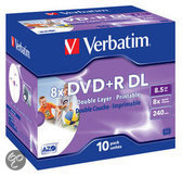 Verbatim 43665 DVD+R Double Layer Wide Inkjet Printable Schijven - 10 Stuks / Jewelcase