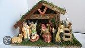 Kerststal hout 30cm met 9 figuren