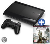 Sony PlayStation 3 Console 500GB Super Slim + 1 Wireless Dualshock 3 Controller + Assassin's Creed III - Zwart PS3 Bundel